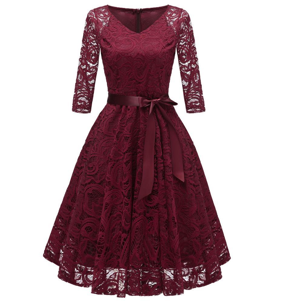 Großhandel Winter Lace Plissee Runway Kurzes Kleid 14 Junior Lace  Langärmelige Kleider Mit Schleife Aushöhlen Audrey Hepburn Rockabilly Kleid  Von