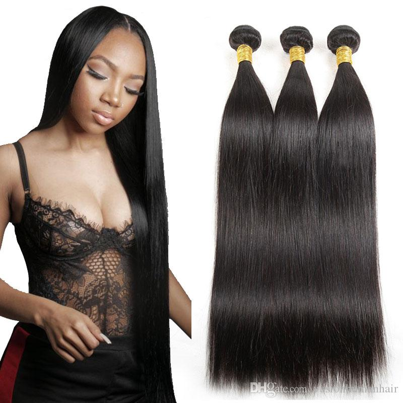 Brazilian Straight Bundles 1 Pc/lot Cheap Hair Extensions Natural Black Malaysian Indian Peruvian Kinky Straight Weave Raw Virgin Hair