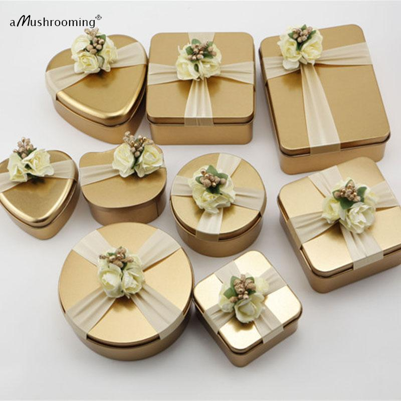 (100 unids / lote) Oro Redondo Cuadrado Corazón Del Banquete de Boda Del Gato Cajas de Dulces de Caramelos Caja de Regalo de Fiesta de Cumpleaños
