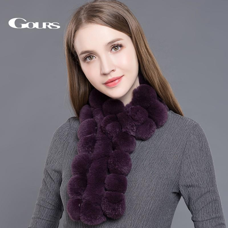 Gours Women's Real Fur Scarf High Quality Luxury Big Rex Rabbit Fur Scarves Fashion Brand Thick Warm Winter New Arrival GLWJ003 D18102904