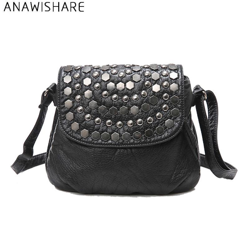 ANAWISHARE Rivet Crossbody Bags For Women Messenger Bag Small Leather Shoulder Bags Women Handbags Bolsa Feminina Bolsos Mujer D18102407