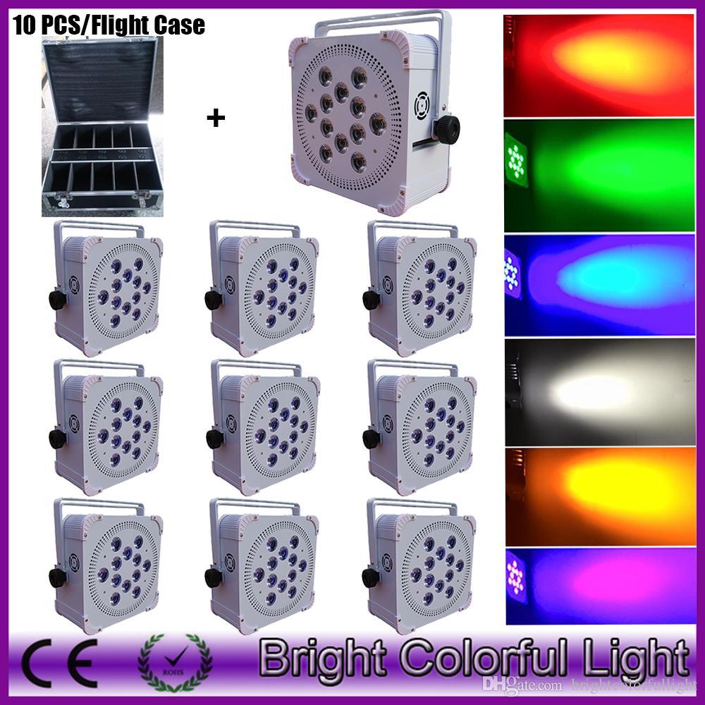 10XLOT +1 fly Case 12*18w battery powered dj lighting, wash light, light-up 12x18w 6in1 wirelss dmx led par can uplights