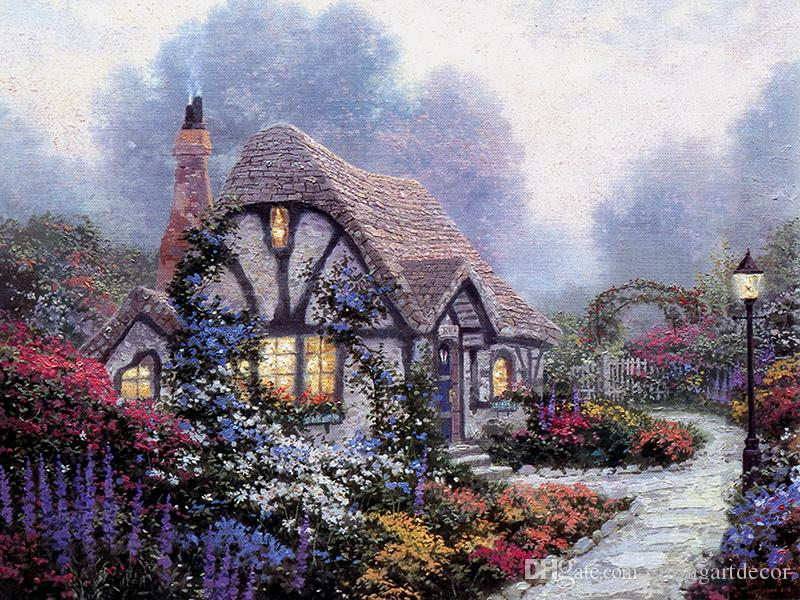 Unframed or Framed Thomas Kinkade Landscape Oil Painting Reproduction High Quality Picture Printed On Canvas Modern Home Art Decor HT104