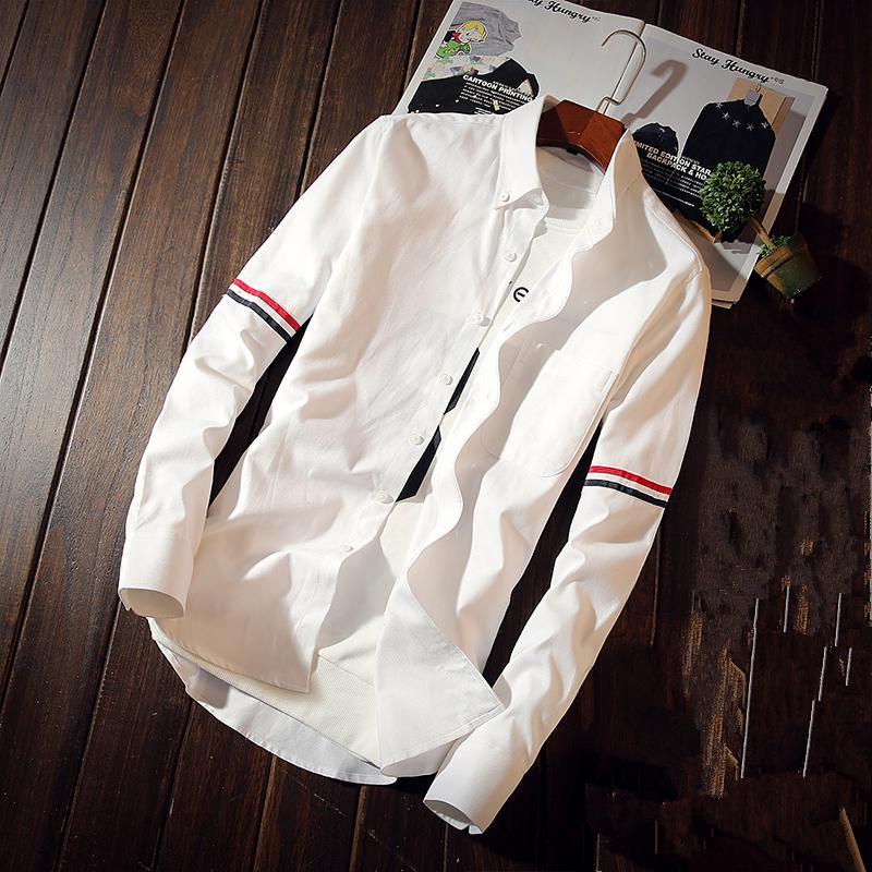 2018 manga comprida Blusa de Homens Primavera e Outono Tamanho S M L XL 4XL 5XL Branco Azul Cinzento Moda Business Casual Man Cotton Shirts