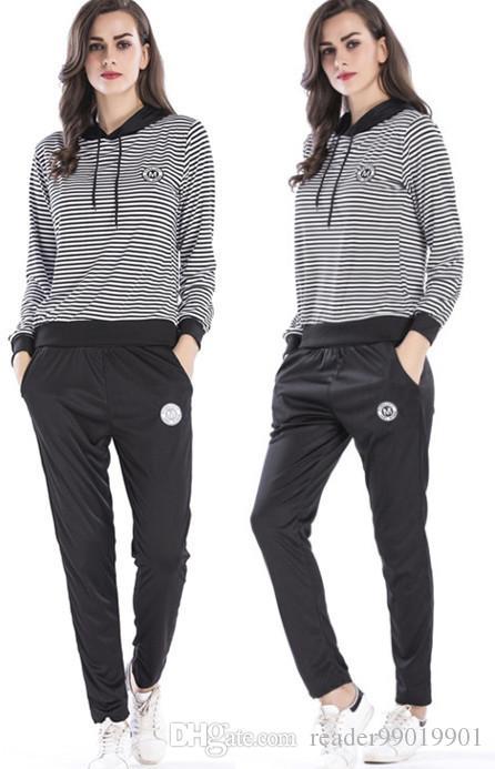 M-3XL женщины осень мода спортивные костюмы полосатый принт с длинным рукавом с капюшоном топ + длинные брюки спорт стиль повседневная повседневная повседневная одежда #397