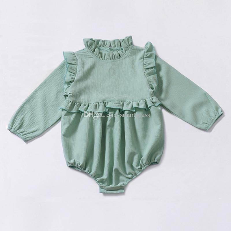 Bebek Uzun Kollu Romper 3 Renk Ruffled Bebek Moda Giyim Sonbahar İlkbahar Pamuk Kız Bebek Tulumu 18103002