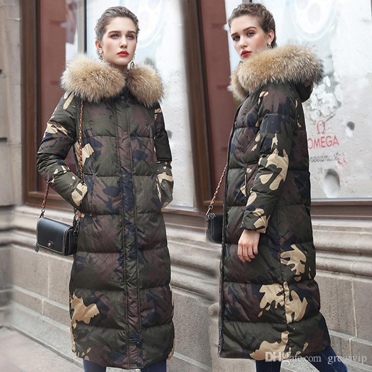 women Ladies Faux Big Fox Fur Collar Parka Warm Thicken cotton down coat outwear