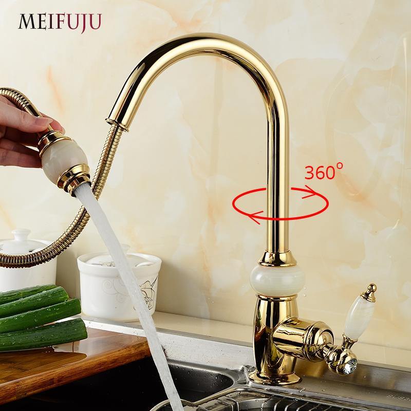 Luxury Golden Handheld Pull Out Kitchen Faucet Deck Mounted Single Hole Kitchen Sink 360 Swivel Mixer Hot and Cold Taps