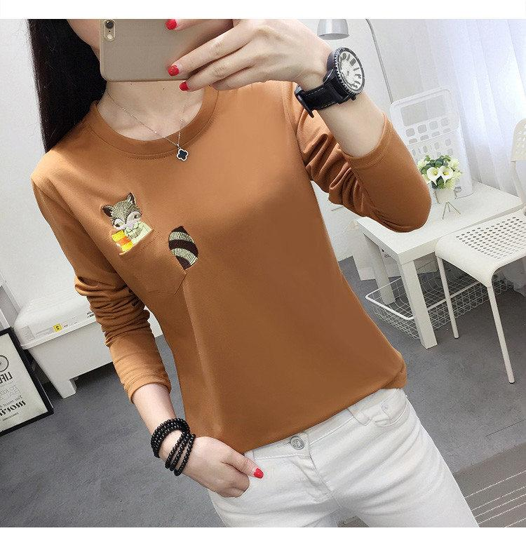 Embroidery T-shirts Women Tshirt O-neck Long Sleeve T-shirts Women Autumn Tops Tee Shirt Femme 2019 Cotton Camisetas Large Size (6)