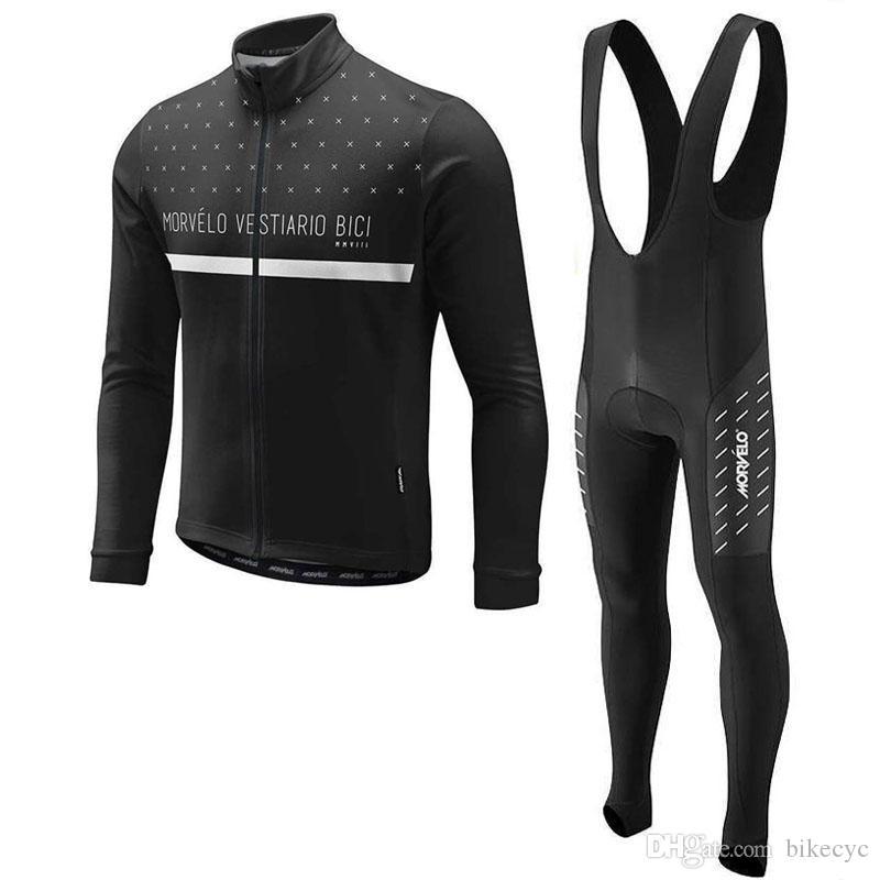 Morvelo 2020 moda equipe homens ciclismo mangas compridas jersey bib calças conjuntos de vendas diretas customizáveis Proteção a frio Y20112104