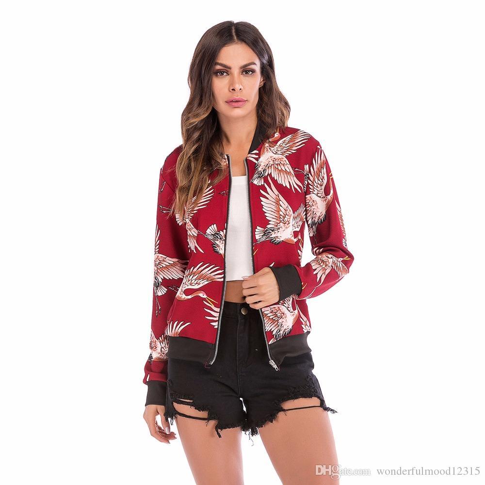 Новая мода осени женщины пальто куртки с длинным рукавом Молния Printed Соперниками бомбардировщика куртки дракона