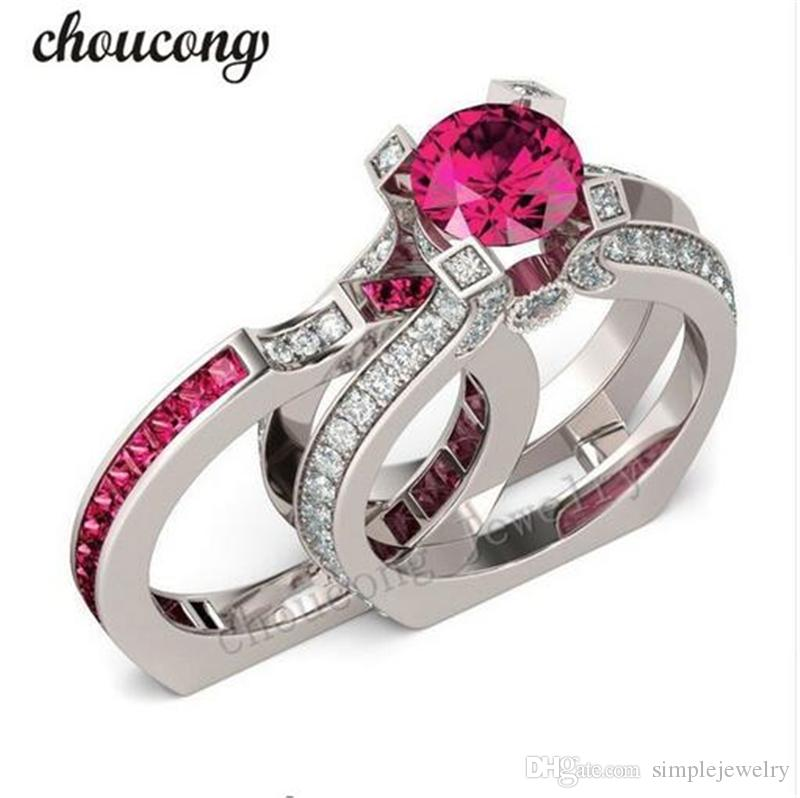Choucong Biżuteria Czerwony Birthstone Cyrkon CZ Ring 925 Sterling Silver Engagement Wedding Band Pierścionek dla kobiet Mężczyźni Prezent Sz 5-11
