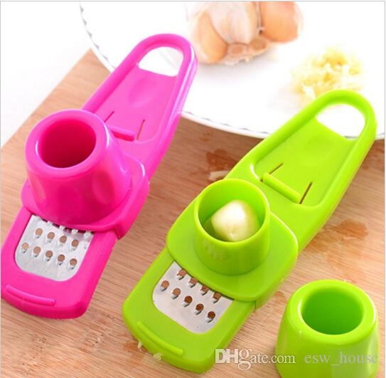 Colorful Stainless Steel Garlic Press Multi-functional Grinding Garlic Mini Ginger Grinding Grater Planer Slicer Cutter Slicer Free shipping