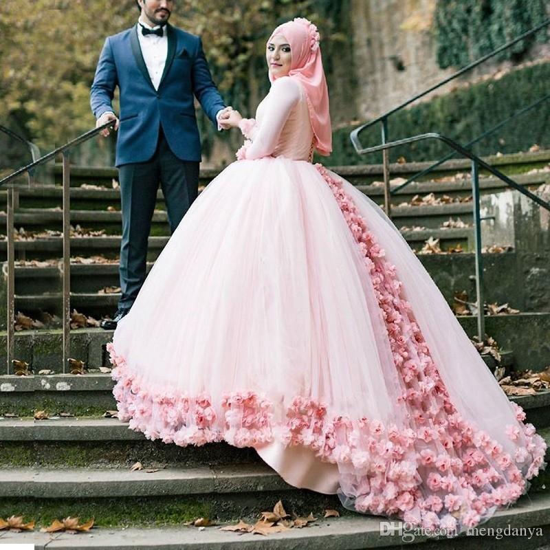 2019 3D Floral Muslim Ball Gown Wedding Dresses Custom Plus Size Modest Dubai Arabic Light Pink Tulle High Neck Puffy Bridal Gowns E35