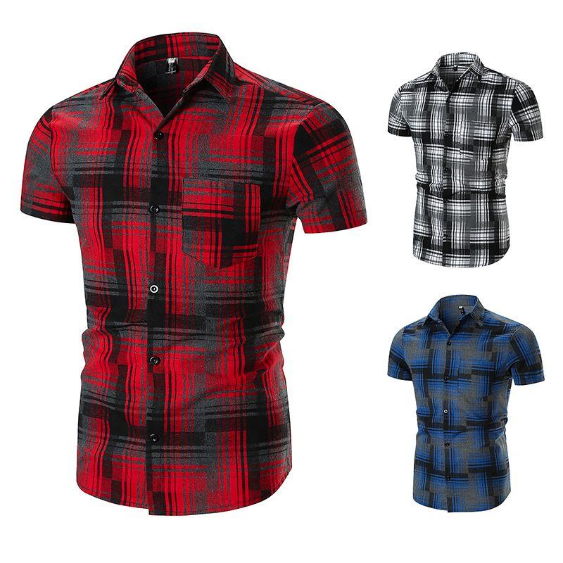 Summer Men's Designer Shirt Casual Cotton Short Sleeve Plaid Fashion Homme Dress Shirts Wholesale Free Shipping