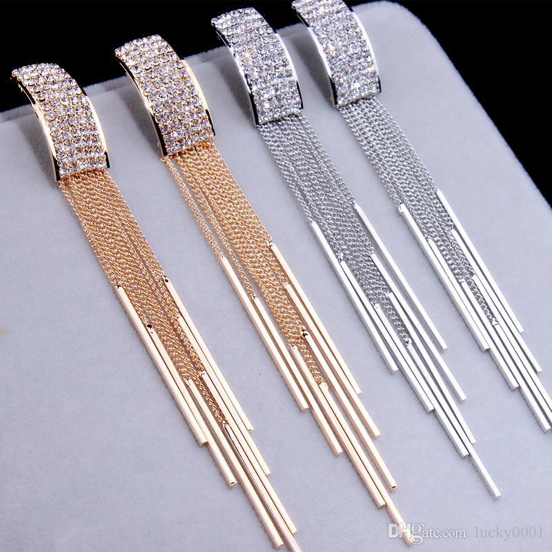 2018 novo ouro branco longo de cristal pingente de borla brincos de casamento das mulheres pingente brincos Brinco moda jóias presentes