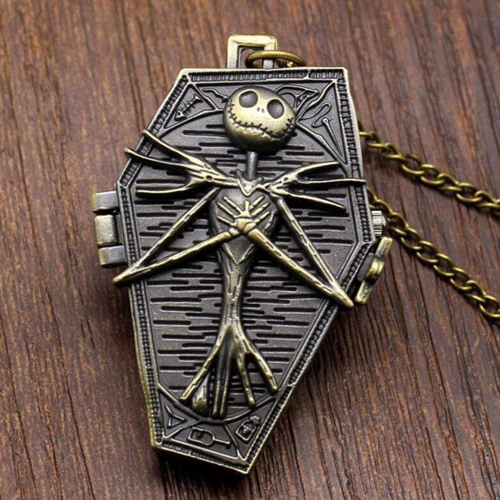 독특한 만화 시체 패턴 목걸이 펜던트 포켓 시계와 체인 빈티지 절묘한 남여 플립 쿼츠 회중 시계