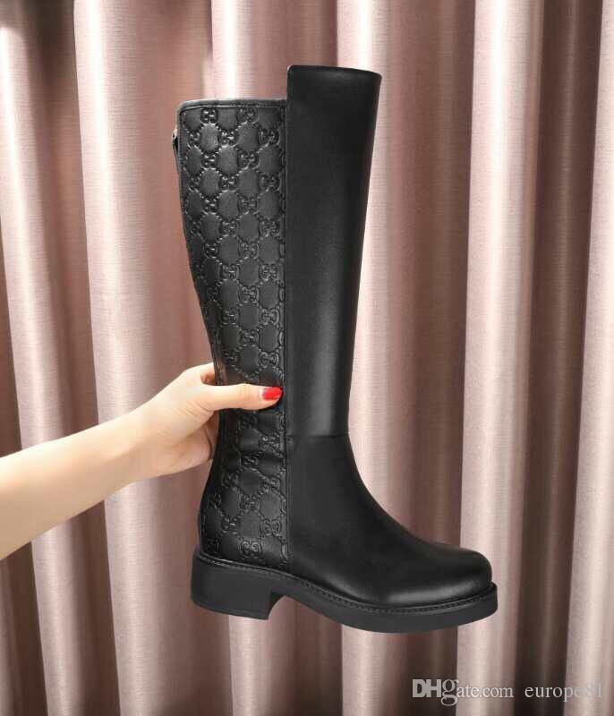 Großhandel Angepasste Hohe Stiefel Leder Damen Stiefel Große