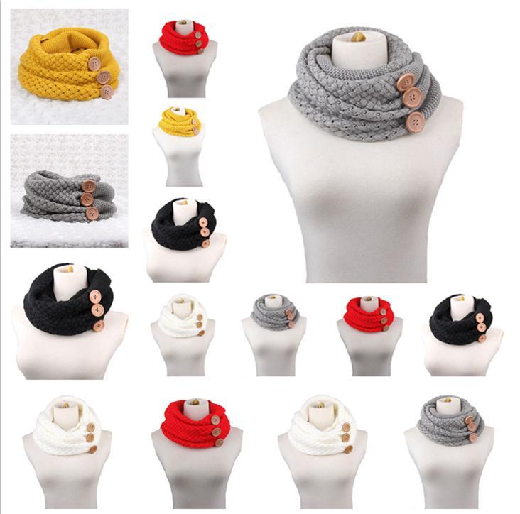 Moda Malha Infinito Anel Cachecol para Mulheres Macio Grande Botão de Inverno Infinito Cachecóis Senhoras Lenço Baixada Quente LE53
