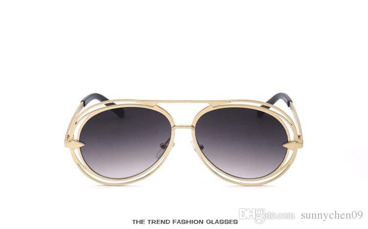 Lentes polarizadas de alta calidad para gafas de sol de moda para hombres y mujeres Diseñador de marca Vintage Sport Hollow sunglasses