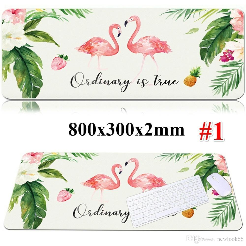 800x300x2mm Beautiful Flamingo Anime Large Gaming Mouse Pad Mouse Keyboard Desk Mat for Computer Laptop PC Accessories
