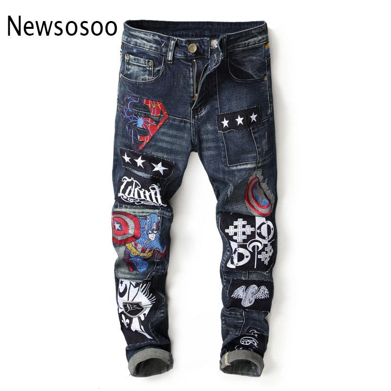 European American Style  mens jeans  Men straight denim trousers Slim blue Patchwork zipper jeans for men