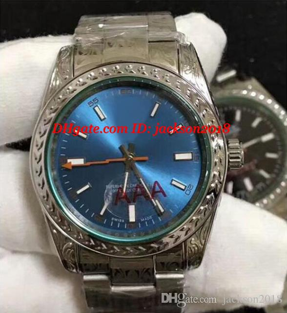 최고 품질 NEW ANNIVERSARY EDITION 녹색 크리스탈 36mm 3 색 DIAL 조각 패턴 기계식 자동 시계 남자 시계