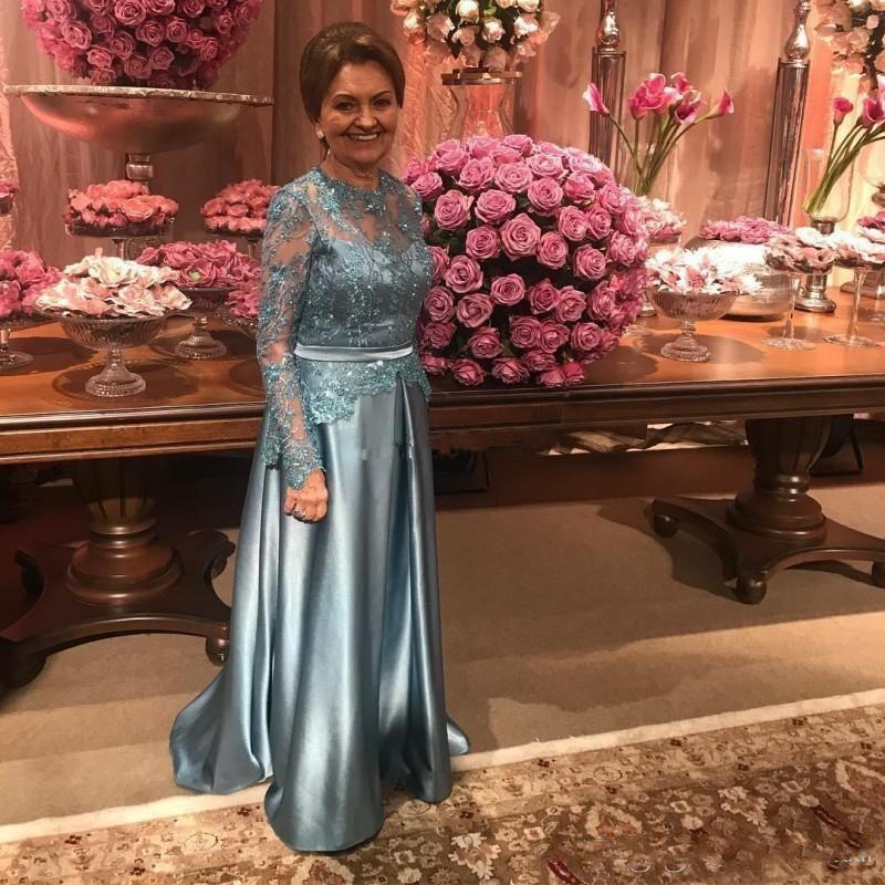 Robes arabes robes d'argent de mère à mariage invité partie bijou de dentelle perles satin illusion manches longues, plus la taille soirée robe de cérémonie Chea