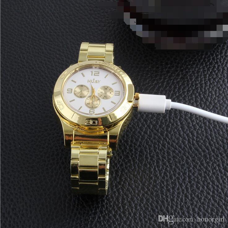 I più nuovi orologi Lighter Moda Sport di ricarica senza fiamma di sigaretta ricaricabile Elettronica pelle Accendino Oro 2 stili scegliere USB