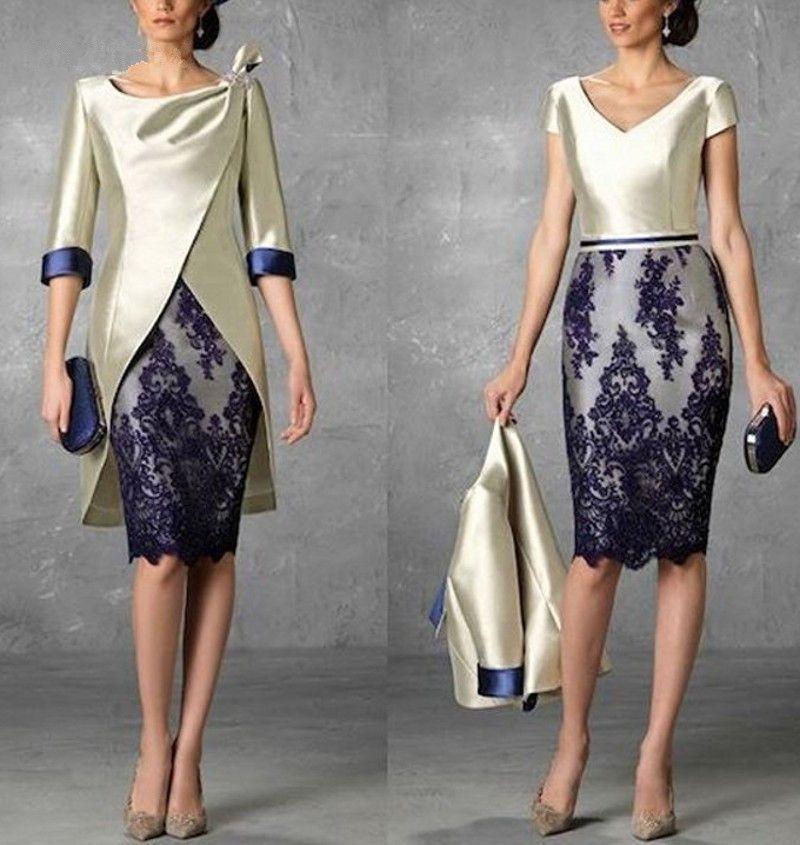 WAISHIDRESS Deux pièces Court Mère de la mariée Robes avec veste 1/2 manches en dentelle Approche de la gaine de robe de soirée