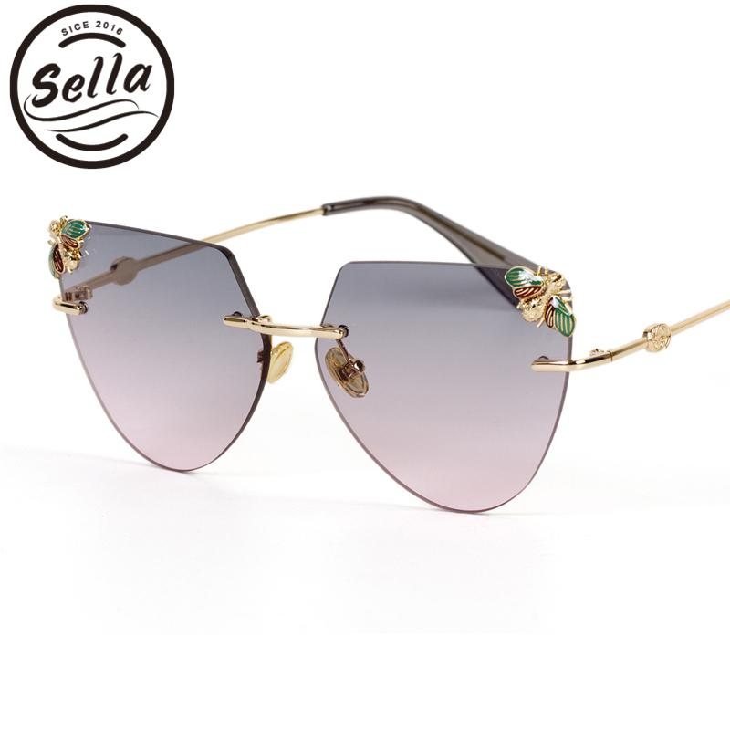 Sella 2018 New Arrival Fashion Women Men Oversized Rimless Cateye Sunglasses Candy Color Gradient Lens Bees Decoration Eyewear
