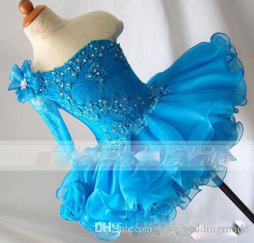 Abiti da spettacolo per ragazze con spalline blu in pizzo Abiti con maniche lunghe in rilievo con applicazioni in pizzo per ragazze