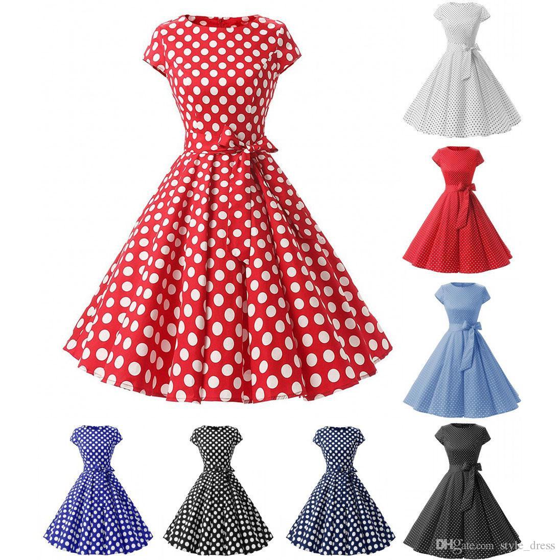 großhandel vintage polka dot kleid frauen sommer kurzarm gürtel rockabilly  casual party kleid von style_dress, 18,52 € auf de.dhgate | dhgate