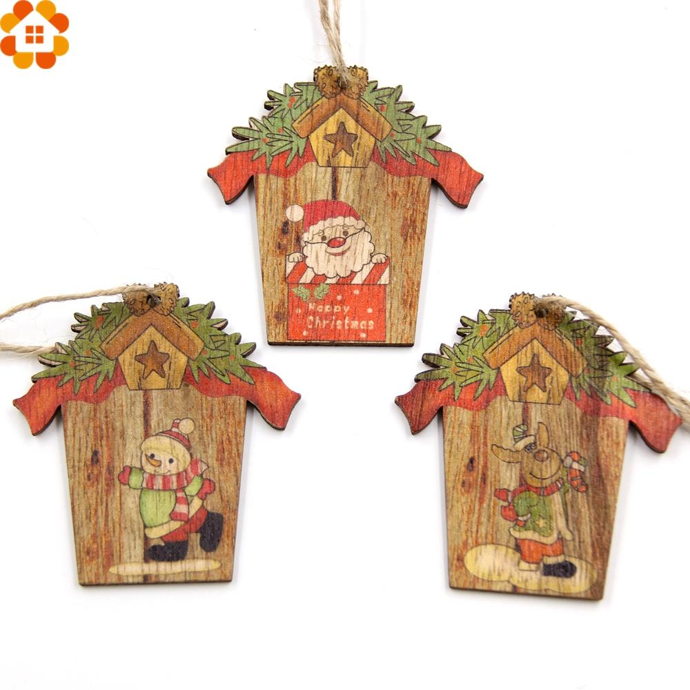 Christmas Wood Crafts.Creative House Christmas Wooden Pendants Xmas Tree Ornaments Diy Wood Crafts Home Christmas Party Decoration Kids Gift Silver Christmas Decorations