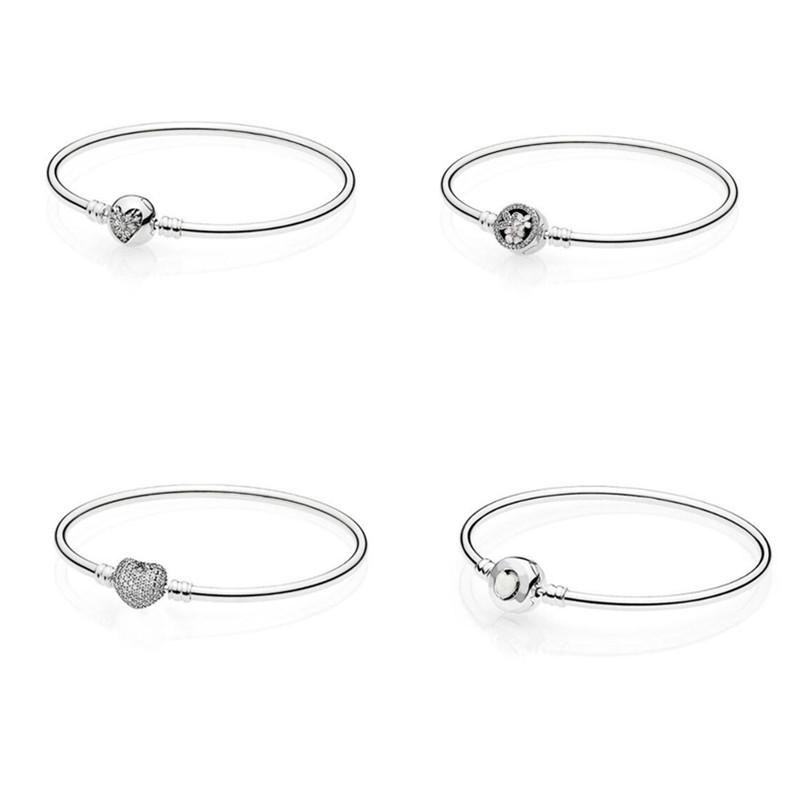 925 Sterling Silver Charms Basic Bracelets For Women Flower Heart Mouse Bead Chain for Diy Beads Charm