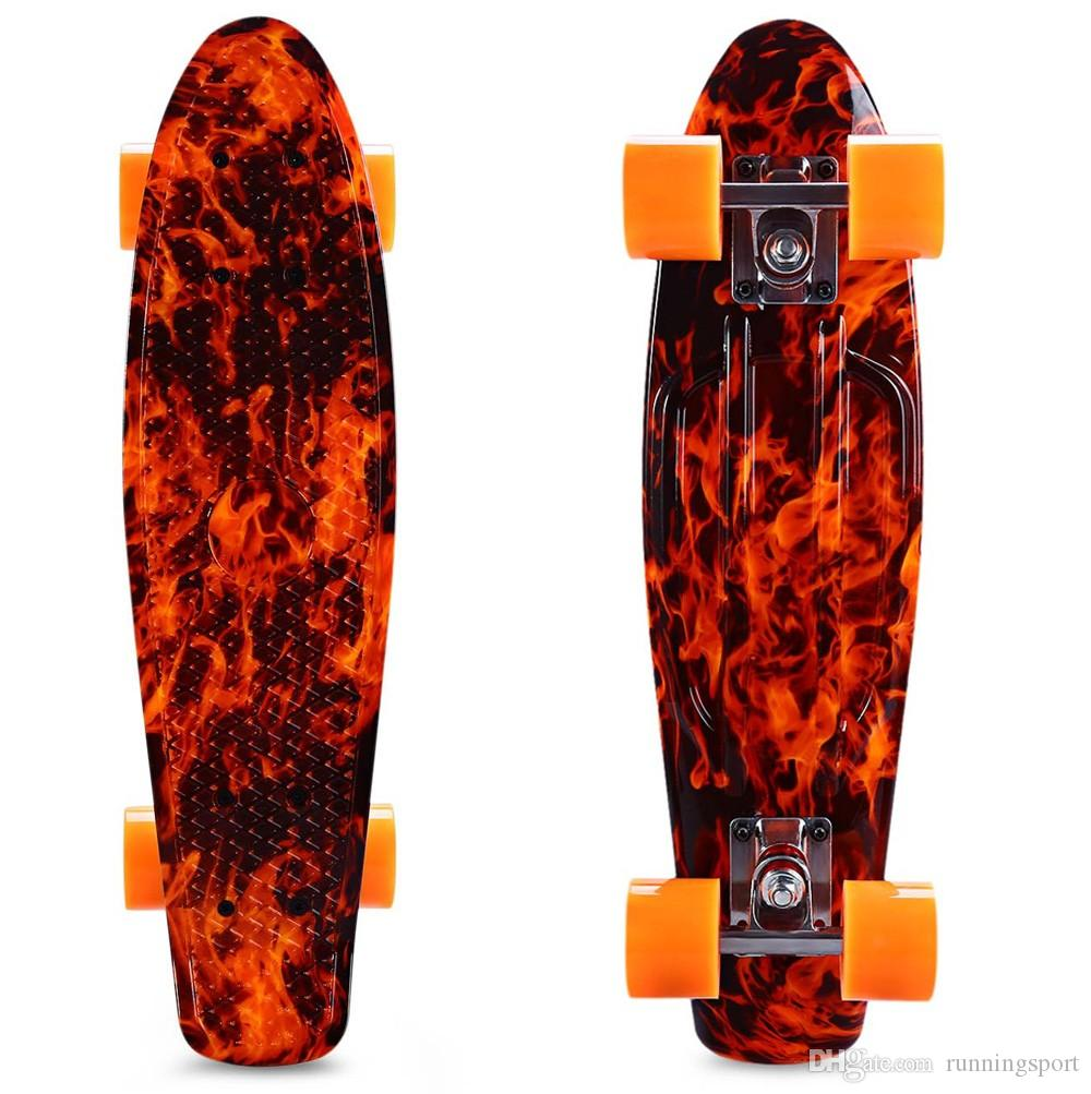 Skateboard 22 Inch Printing Flame Sport Skate Board Pattern Skateboard Complete Multi-color Long Board Retro Cruiser Longboard