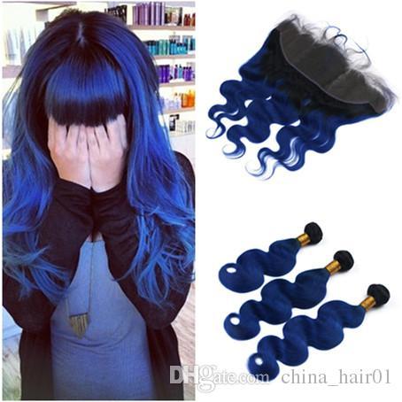 Fala ciała # 1B / Blue Ombre Dziewicy Indian Human Hair 3 z Frontal Black and Dark Blue Ombre 13x4 Koronki Frontal Zamknięcie z splotami
