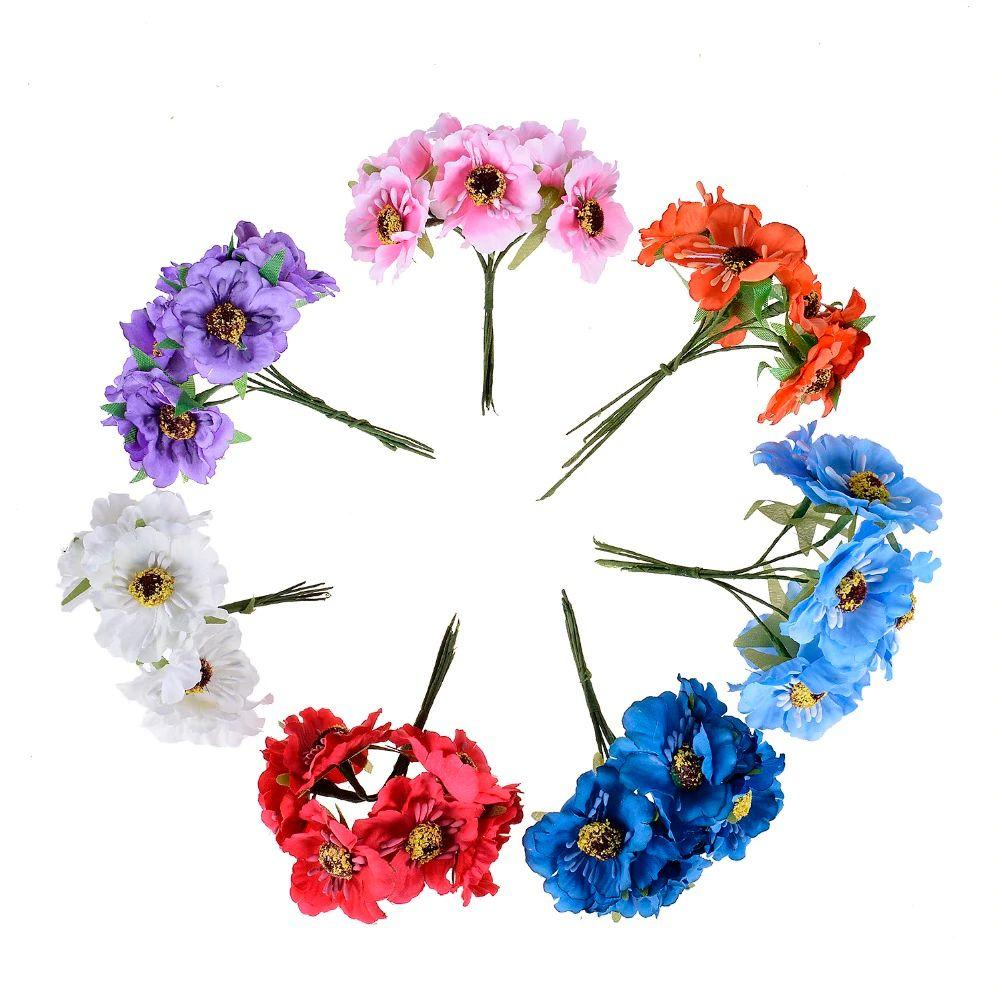 6pcs 3.5cm 미니 실크 체리 인공 꽃다발 DIY 수제 문신 화환 스크랩북 웨딩 장식 공예 가짜 꽃