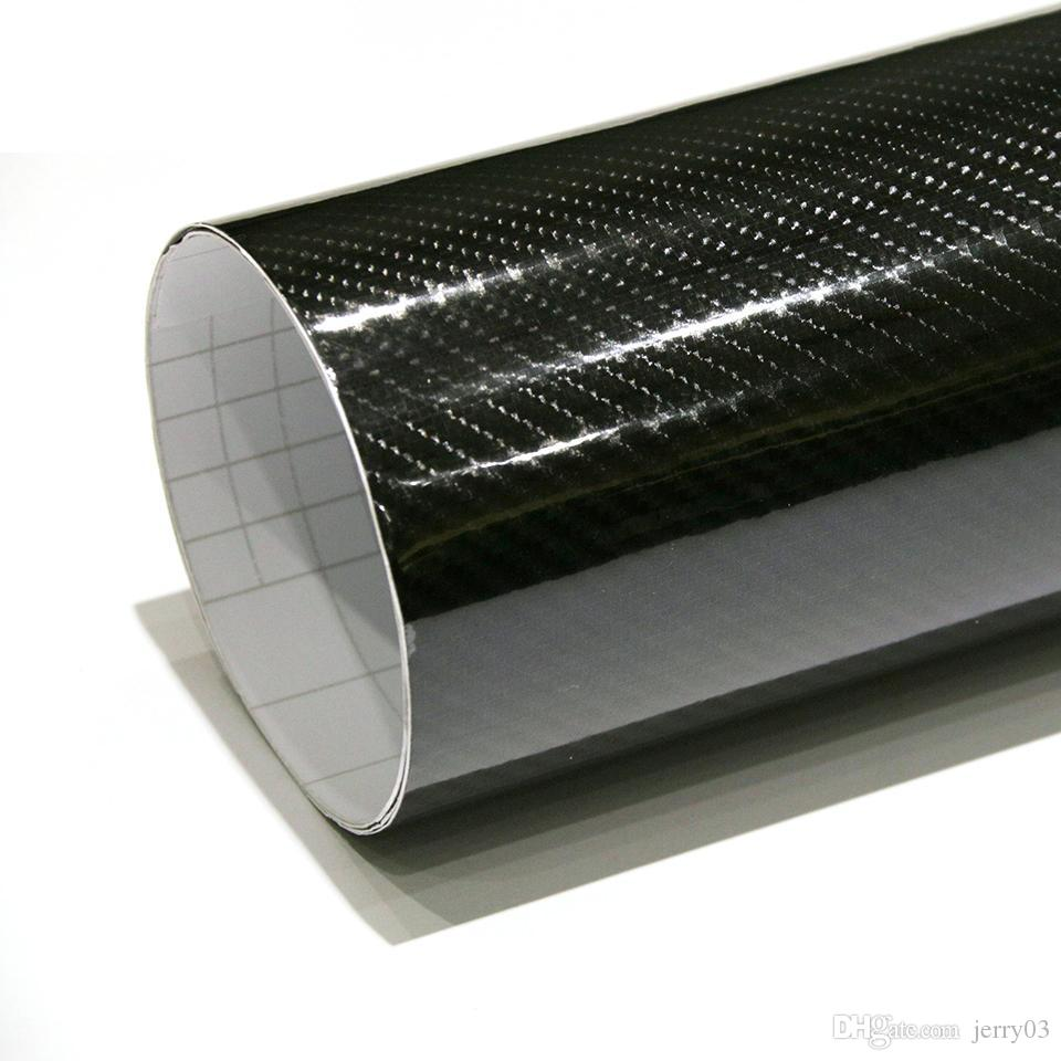 Car 30cm 5D Gloss Carbon Fiber Premium Vinyl Sticker Wrap Decal Sheet Film Black