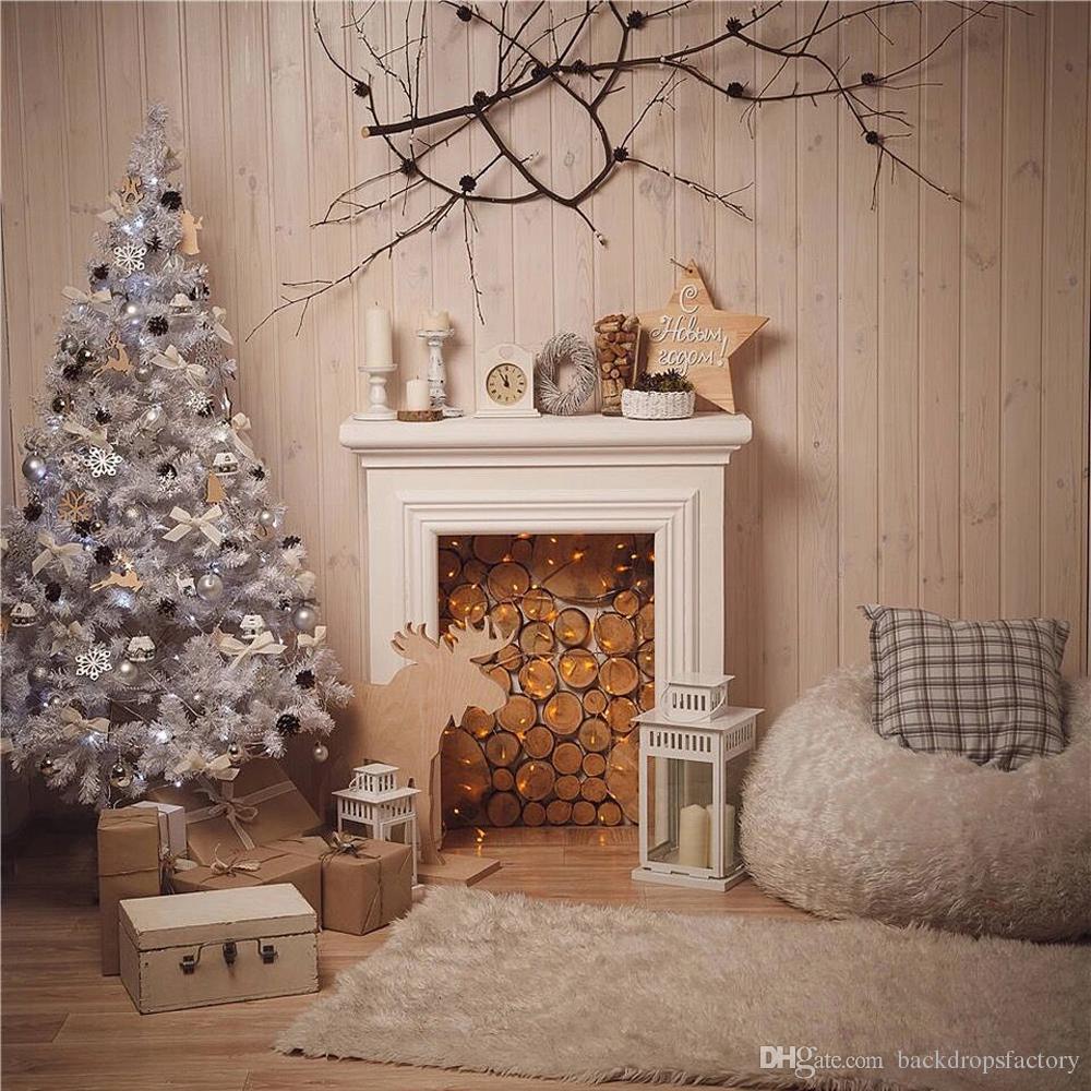Крытый Камин Фото Фон Печатных Белый Рождественская Елка Дерево Стены Ветка Звезда Представляет Детские Дети Фотографии Фонов