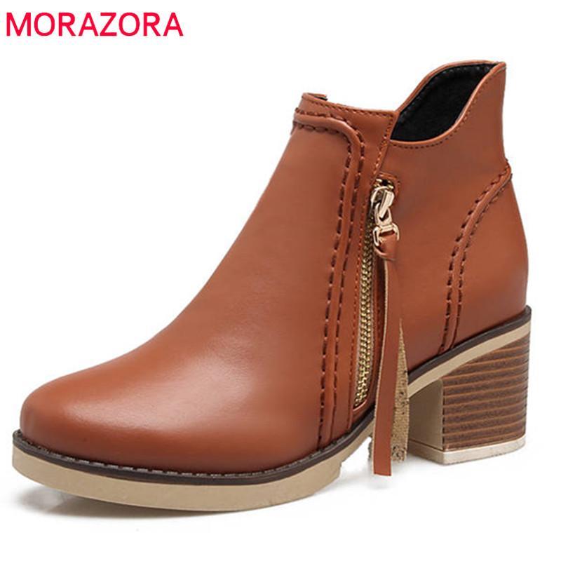 MORAZORA 2018 большой размер 34-43 круглый носок осень зима ботильоны молния мода высокие каблуки обувь женщина повседневная дамы сапоги