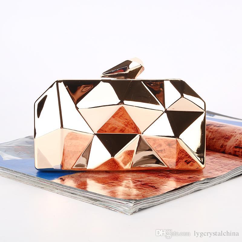 Um novo estilo hot sólida saco cor jantar Rhombic caixa de ferro embreagem noite bolsa de senhora e de noiva na festa de casamento / / banquete