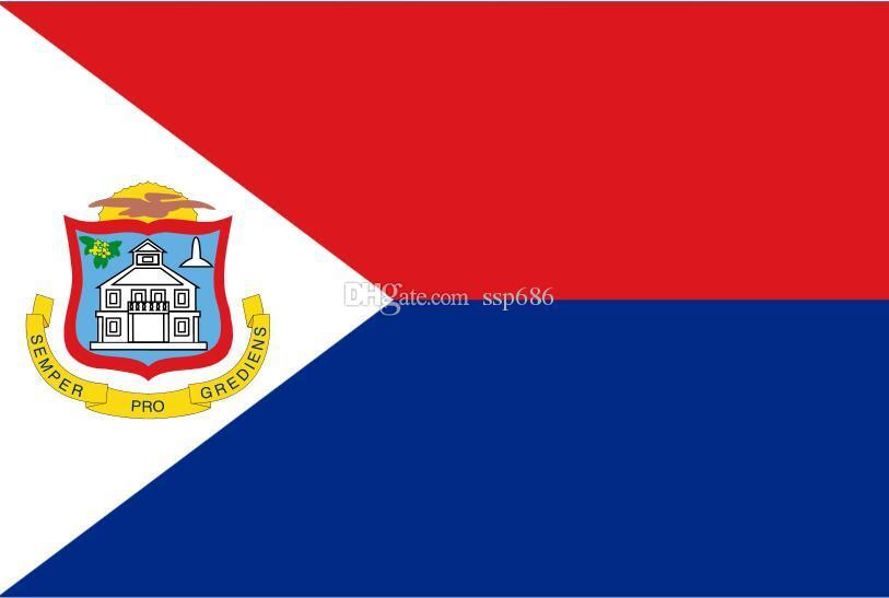 Holandia Holandia Flaga Sint Maarten 3FT X 5FT Poliester Banner Latający 150 * 90 CM Niestandardowa flaga na zewnątrz