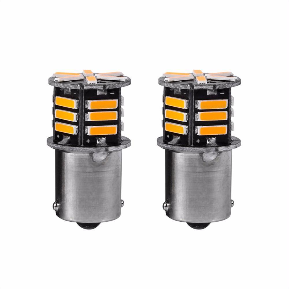 2pcs S25 1156 BA15S 7014 21SMD LED Auto Car LED Bulbsl enciende ámbar LED Signa bombillas