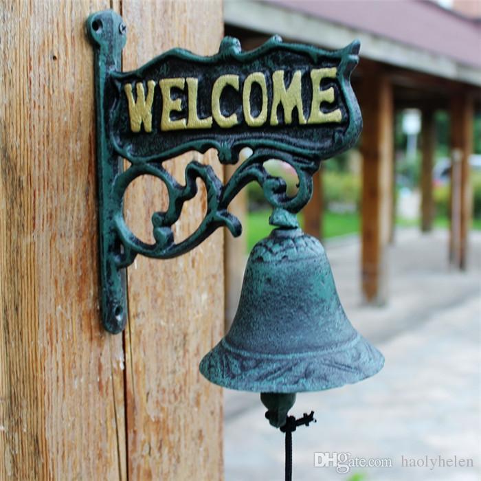 Antique Cast Iron WELCOME Dinner Bell Dark Green Wall Mounted Home Store Office Cottage Wall Decor Garden Yard Door Bell Metal Crafts Gift