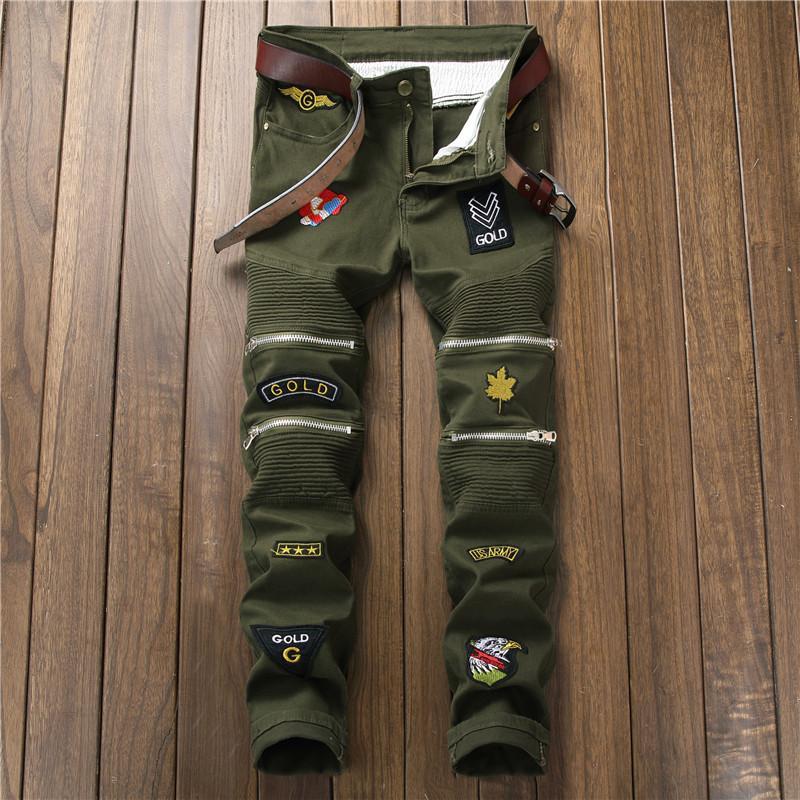 Camuflaje del motorista Los pantalones vaqueros Biepa nuevos hombres de la moda con multi de la cremallera de la motocicleta del dril de algodón plisado pantalones con Parches