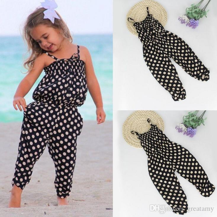 New style toddler baby girl kids polk dot romper one-piece jumpsuit playsuit harem pants top quality