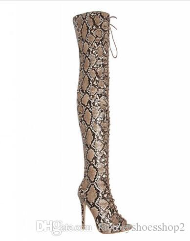 Real Picture Women Sexy Pointed Toe Leopard PU Leather Over Knee Gladiator Boots Lace-up Long High Heel Boots Sexy Shoes
