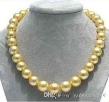 10-11mm naturais mares do sul colar de pérolas de ouro 17 polegadas colares frisados fecho de ouro 14k