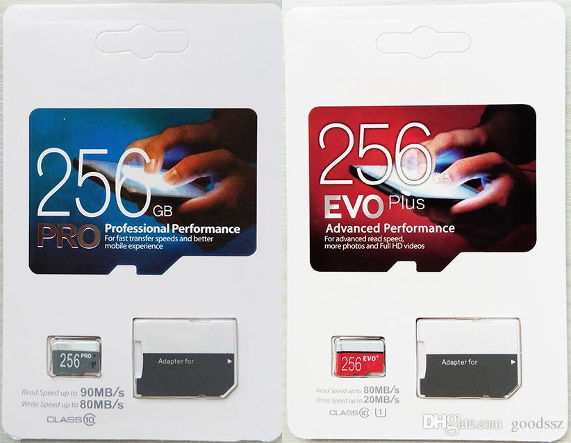 프로 EVO 플러스 256 기가 바이트 128 기가 바이트 64 기가 바이트 32 기가 바이트 마이크로 메모리 TF 카드 트랜스 플래시 카드 고속 클래스 10 카메라 스마트 폰
